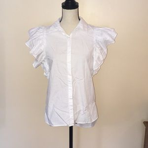 Bright White Ruffle Sleeve Poplin Top Button Front